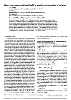 Matrix operator symmetries of the Dirac equation and separation of