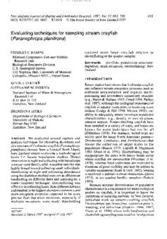 Evaluating techniques for sampling stream crayfish
