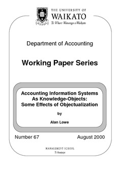 Accounting Information Systems As Knowledge Objects Some Effects Of