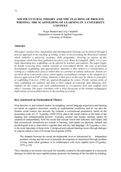 Sociocultural theory and the teaching of process writing