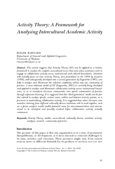 Activity theory: A framework for analysing intercultural academic