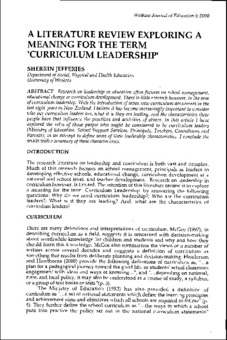 A Literature Review Exploring A Meaning For The Term Curriculum