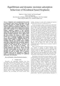 Equilibrium and dynamic moisture adsorption behaviour of